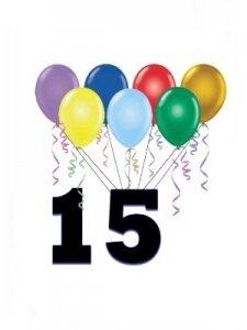 Поздравление: 15 лет тебе - ура!
